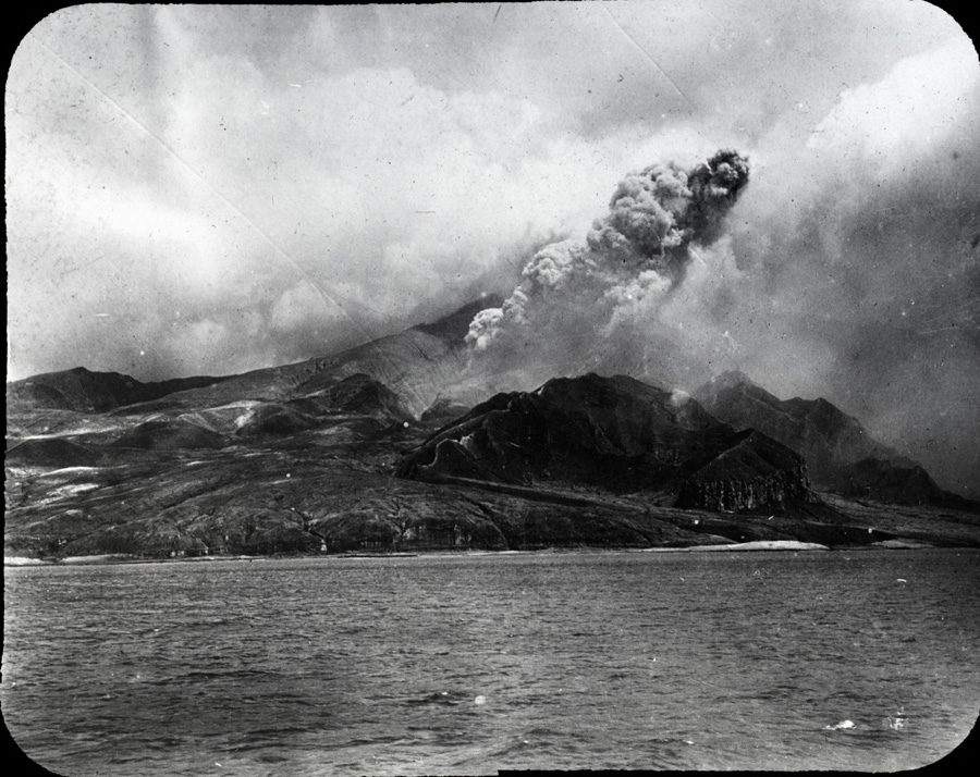 Photograph documenting the eruption of the volcano Mount Pelée in Martinique, 1902, photo courtesy of The Caribbean Photo Archive