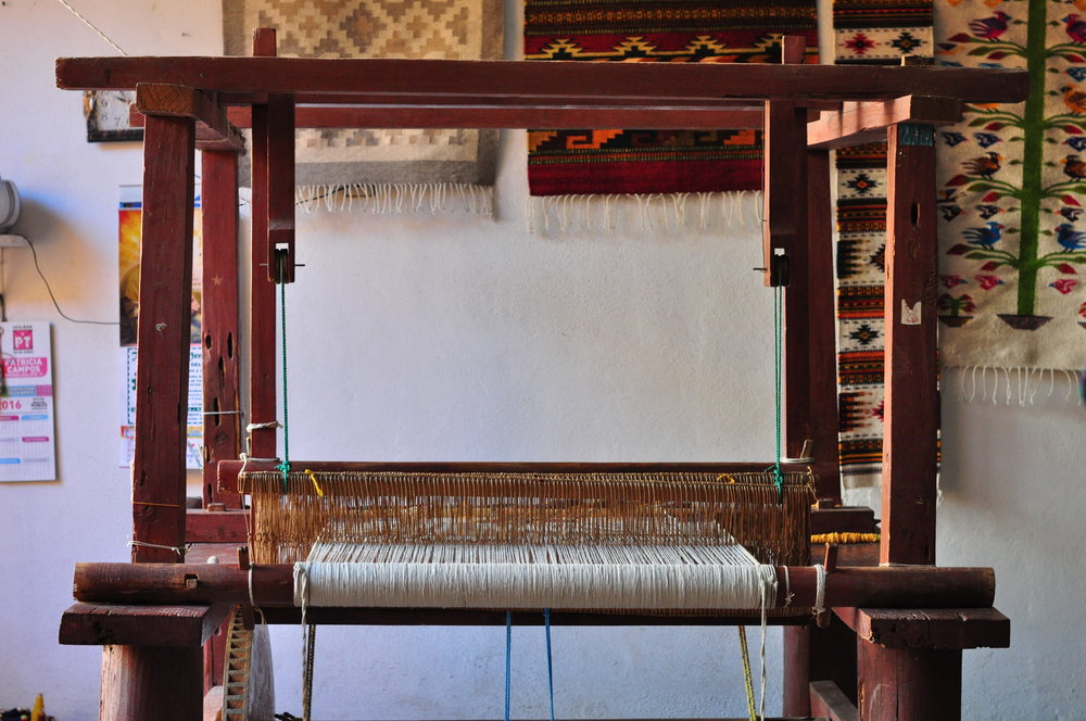 Pedal-operated loom, crafted by local artisans in the village in the Valles Centrales of Oaxaca.