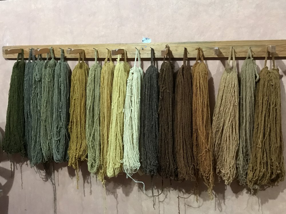 Naturally-dyed loops of yarn made from sheep's wool in the Valles Centrales of Oaxaca.
