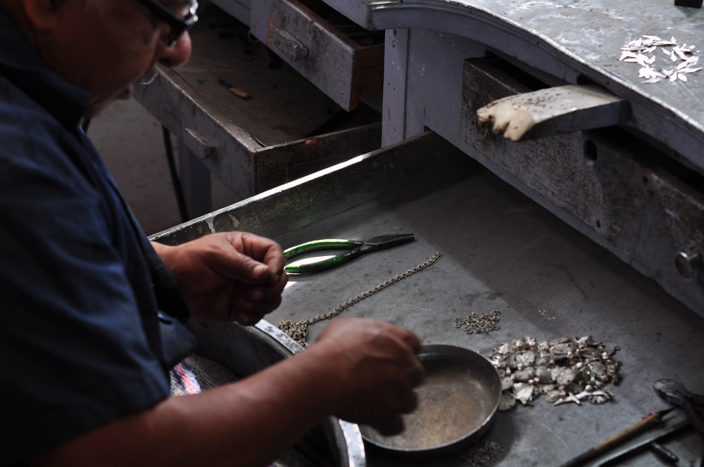Making silver jewelry in Teotihuacan, Mexico.