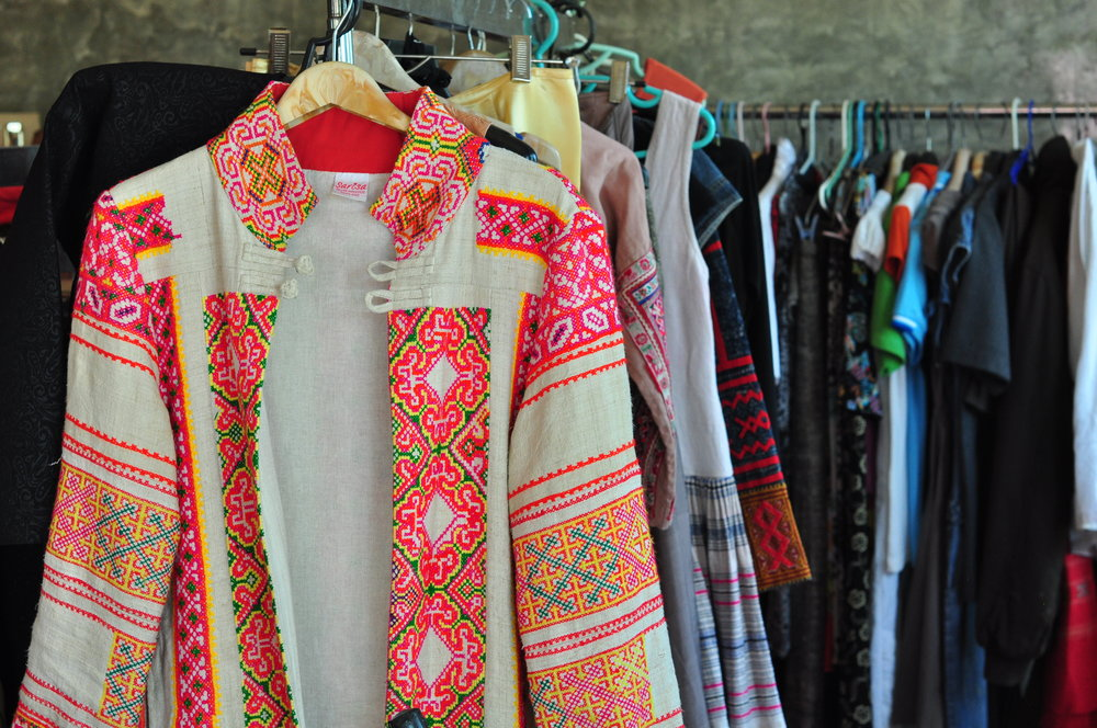 A snapshot of Sarisa's wardrobe, or vintage textile museum, depending on how you look at it.
