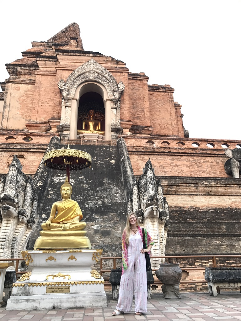 Taking my custom Sarisa jumpsuit out for a sunset stroll at Wat Chedi Luang.