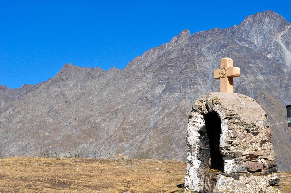 Near Gergeti Trinity Church, situated below Mount Kazbegi. Elevation 2170 meters.