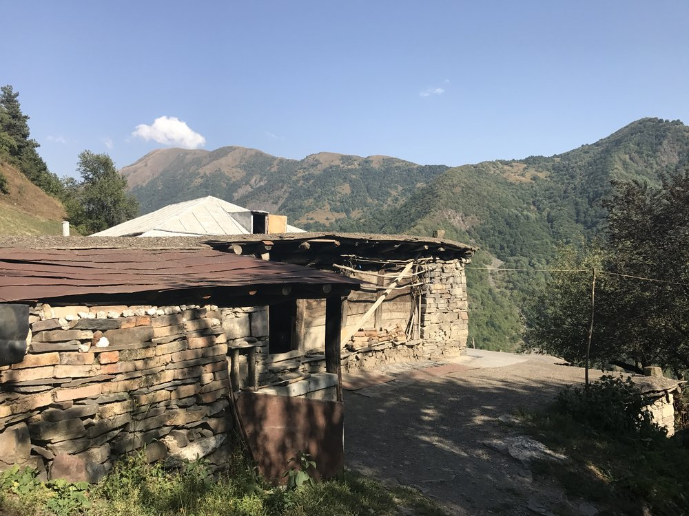 Nino's traditional Khevsuretian home in Barisakho, Khevsureti.