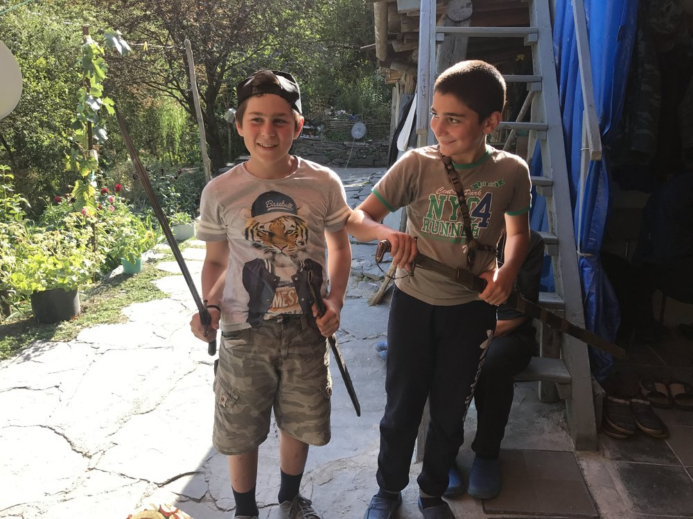 Our host's grandsons, inheritors of the family's now last and best example of a Khevsuretian sword from the 17th century. They are also just so cute.