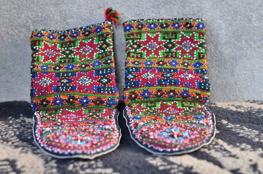 Traditional Khevsuretian slippers, hand made by Nino. A pair of these babies apparently went for around $500 at the International Folk Art Fair in Santa Fe several years back. She's no joke!