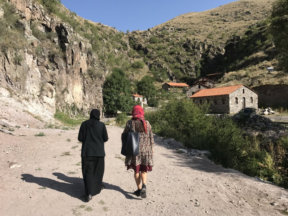 Our guide, Ano, at the women's monastery with a resident nun.