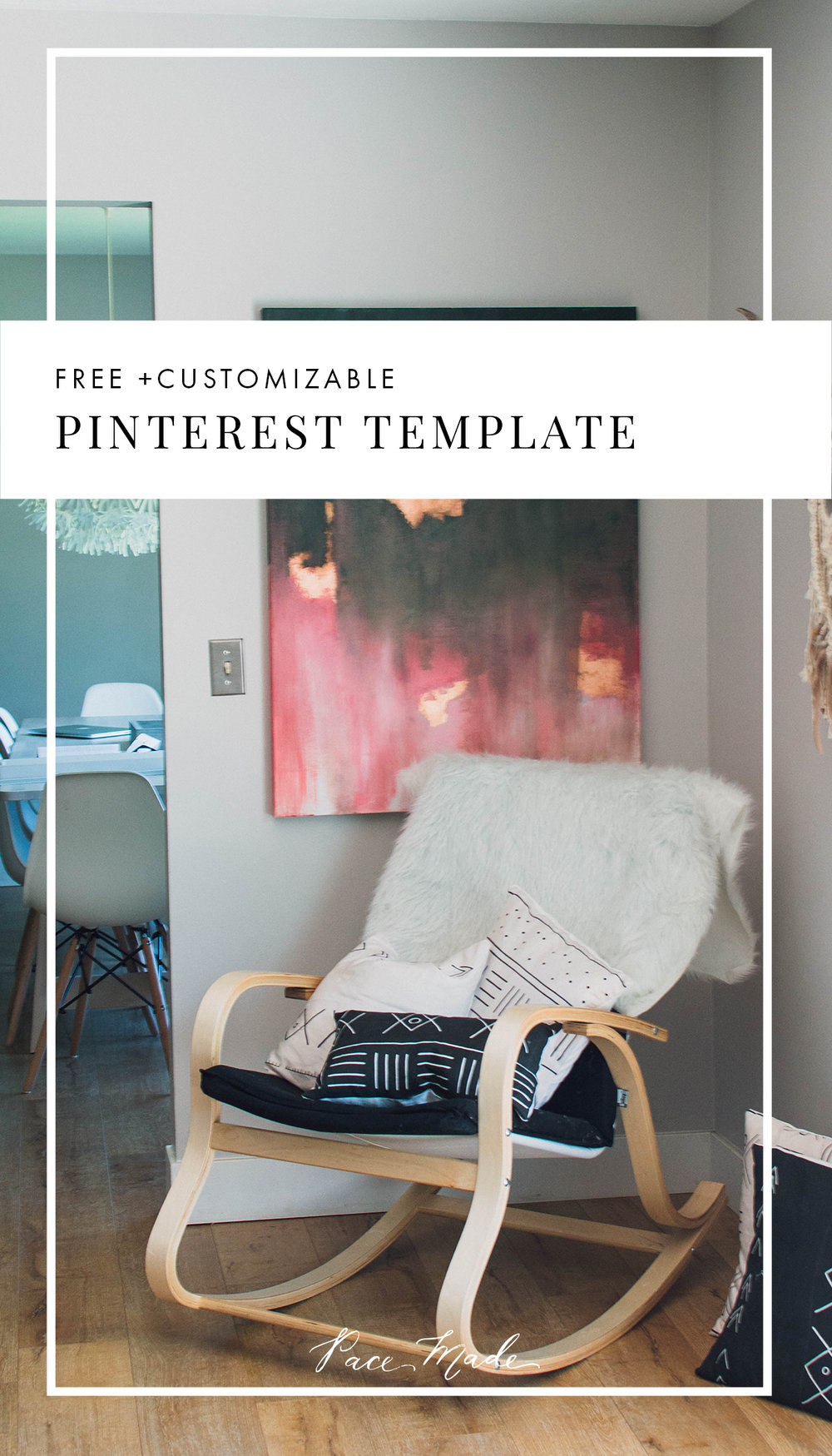 Free Pinterest Template - Customizable - It's important to create a cohesive feed across all platforms, so today I wanted to share my Pinterest template freebies. Open them up in photoshop, change the fonts to your brand & drag your own pictures in and out.