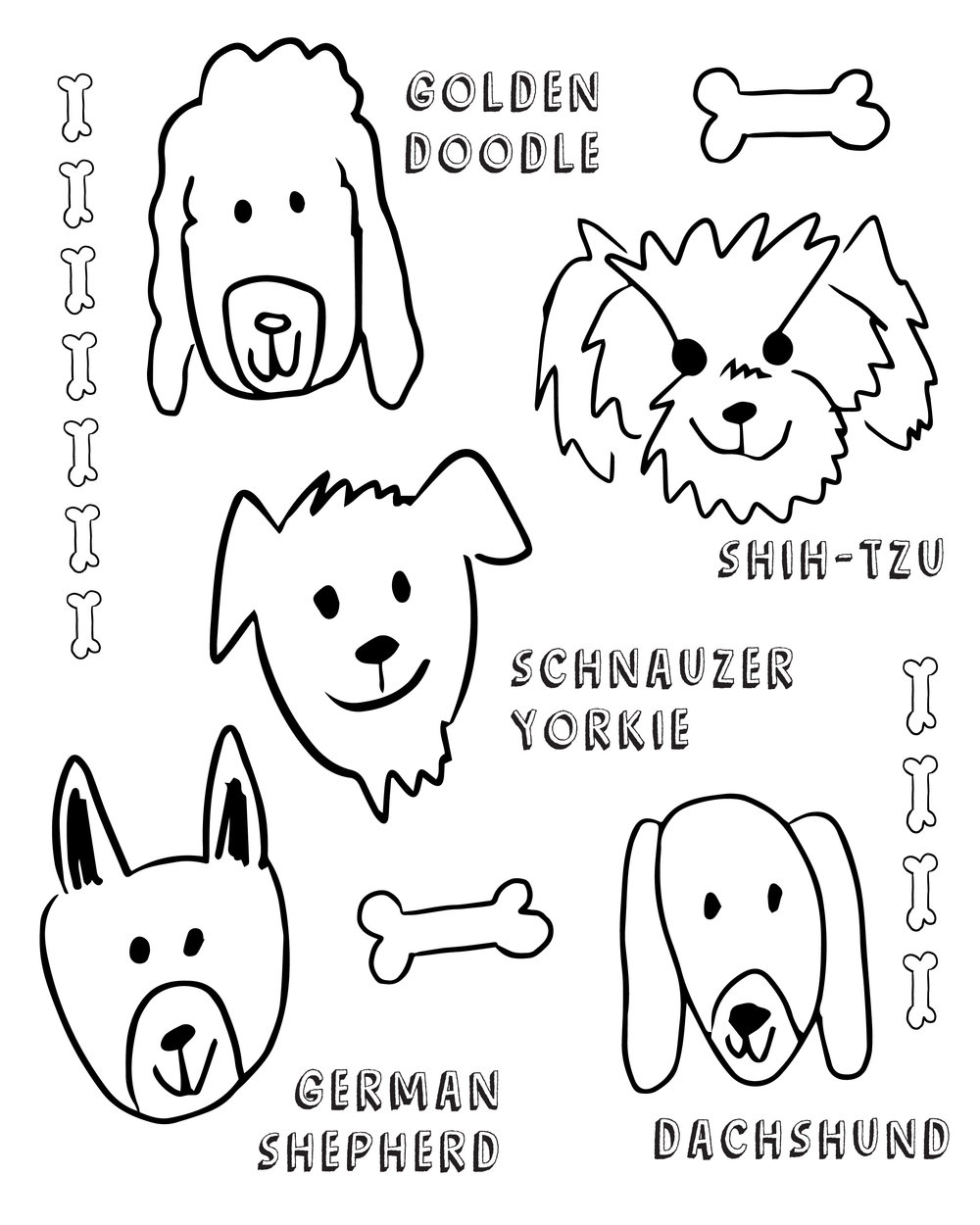 Puppy Party for  First birthday freebie dog coloring page, golden doodle, shih tzu