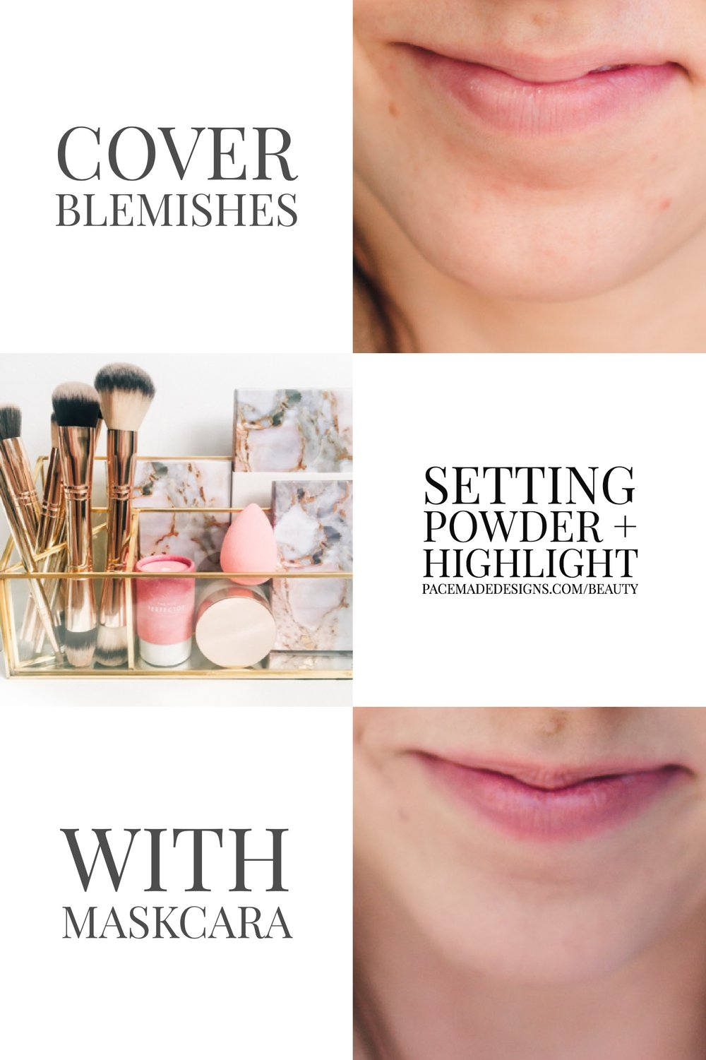 To cover blemishes with Maskcara IIID foundation, all you need is the Highlight you already use and the Vanilla Dust Setting Powder. Use the multi-tasker brush or the highlight side of the 30 second HAC brush and dab the highlight right over any blemishes. Do no blend. Take your powder brush, tap it in the vanilla dust, and tap over the blemish. That's it. Now you're ready to go over all the areas again with your highlight.