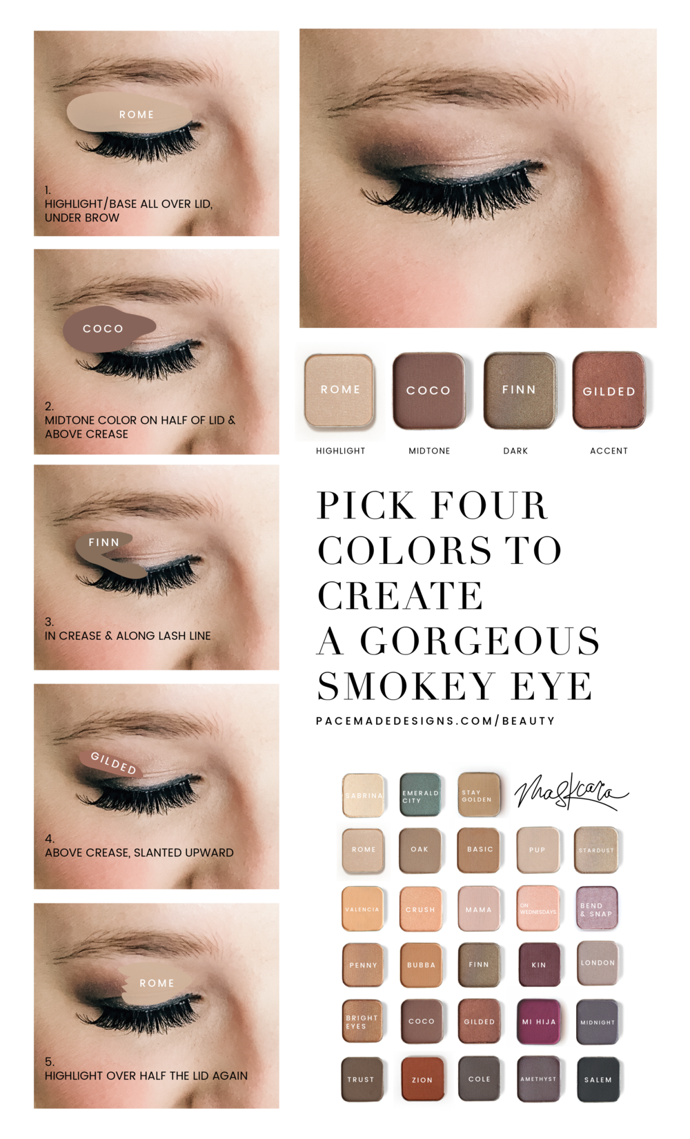 I'm not pro at Eyeshadow, but when I see a beautiful color palette… I definitely want to get it on my eye. My go to is this little arrangement.  Our shadows are super pigmented, if you want to fill in your brow with powder then grab one of the matte shadows to double serve.   To get started pick four colors.   A highlight or base, mid tone, dark and then an accent. You can choose as many colors as you want within your eye color column, or choose neutrals and then choose an accent color from your eye color column to bring out your eye color.  So if I was going to choose neutrals + accent, I would choose Sabrina, bright eyes, trust and then gilded to bring out the green. You see, all of my colors don't have to come from my color column, those just give you lots of choices to emphasize your eye color!