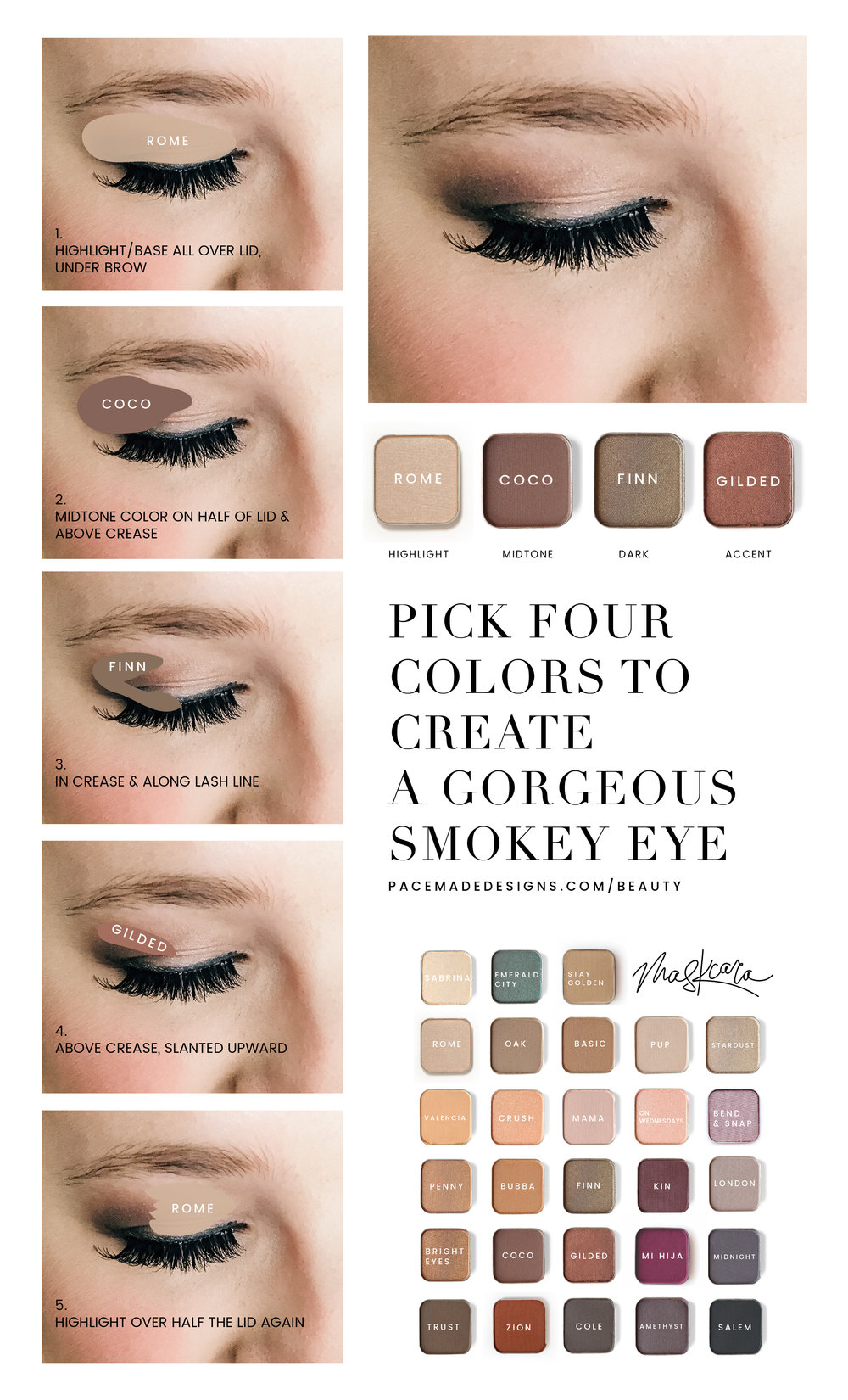 Pick four colors, including ONE that will make your eye pop for this gorgeous smokey eye.