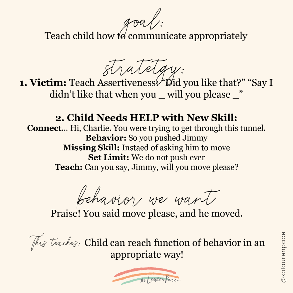 "Okay, so here's what you do.   1. Go to the victim first. (If your child is the victim, this is the only part your need to do). We need to teach assertiveness. Ask the child, did you like that? *connect* ""Say to your cousin, I didn't like it when you _ will you please _"" *praise*  2. Now go yo your child who needs help with a new skill. Connect with them. Assume positive intention. Hey buddy, you wanted Sammy to listen. (behavior) so you yelled at her (missing skill) instead of asking her nicely. (set limit) We don't yell at others. (teach) Can you say, Sammy, please __.  AND PRAISE THE HECK OUT OF IT.  If they have never learned that skill, do not take them to time out. Teach them. Have them repeat. PRAISE. And then make sure you make a mental note to practice and roll play this situation again and again at home."