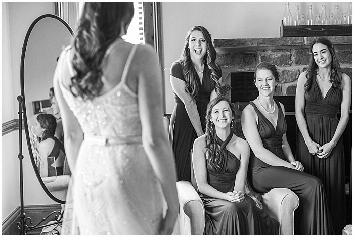 Bride getting ready with bridesmaids at Battle Mountain Farms