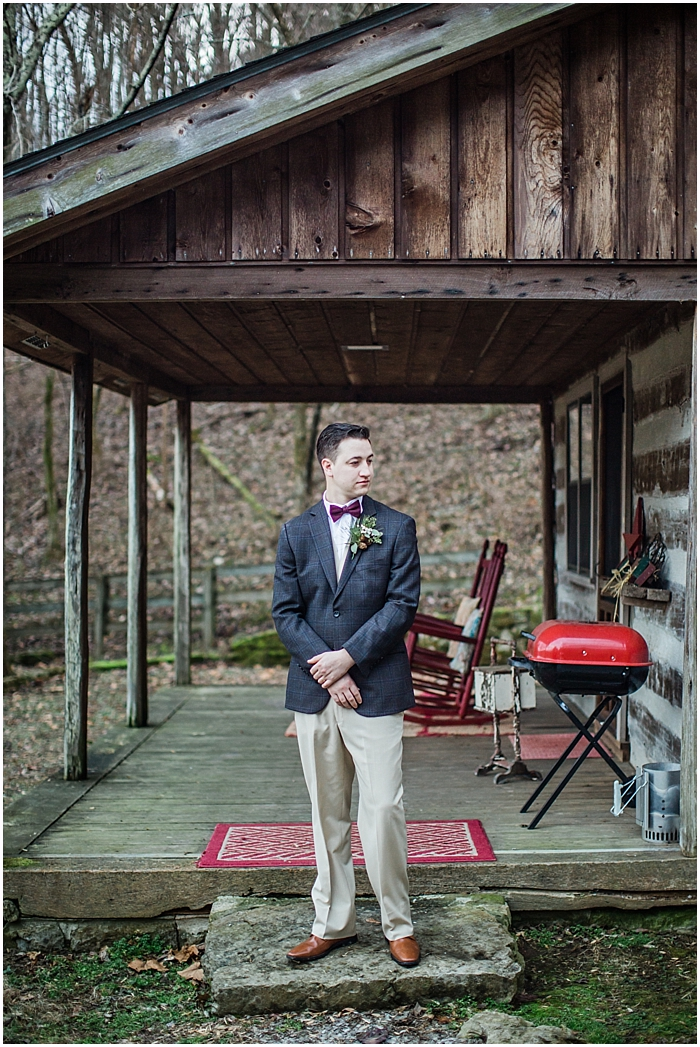 Groom with Bow Tie Winter Wedding Photography Nashville