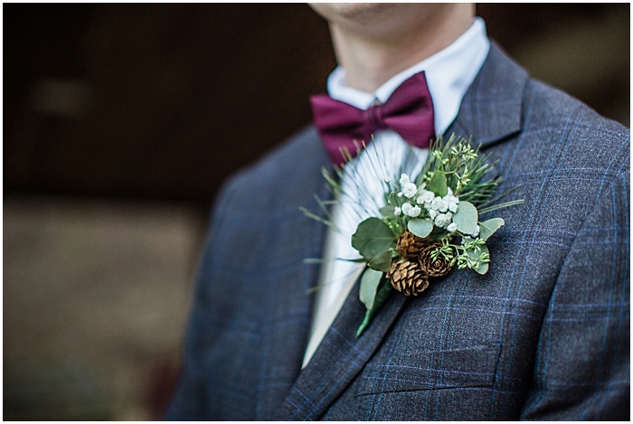 Winter Wedding Photography Pine Cone Boutonniere