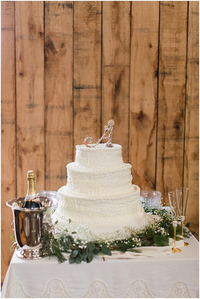 Nashville Winter Wedding Cake Battle Mountain Farms Photography