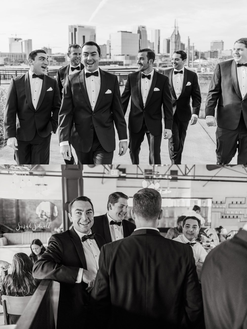 Groomsmen hang out together | Sarah Sidwell Photography | The Bell Tower