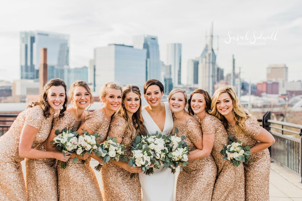 A bridal party pose together | Sarah Sidwell Photography | The Bell Tower