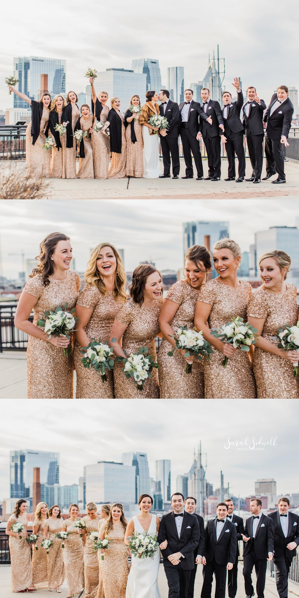 A wedding party squishes together for a photo | Sarah Sidwell Photography | The Bell Tower