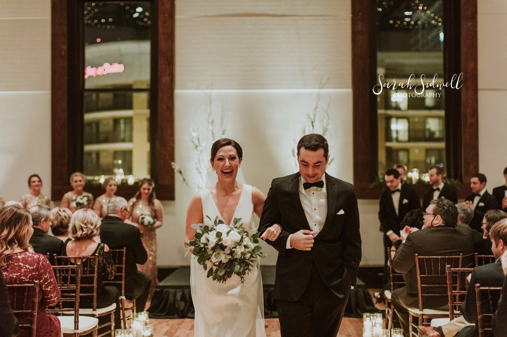 A man walks a bride down the aisle | Sarah Sidwell Photography | The Bell Tower