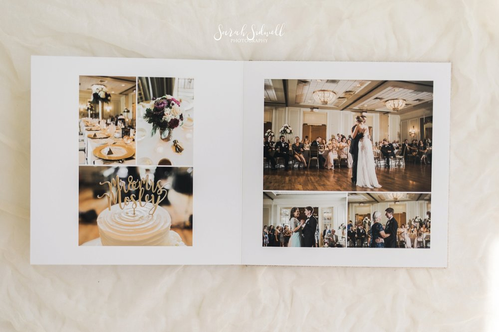 Sarah Sidwell Photography shows off the wedding photo albums she offers.