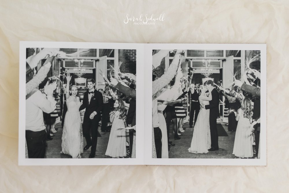 The pages of a wedding album are flipped.