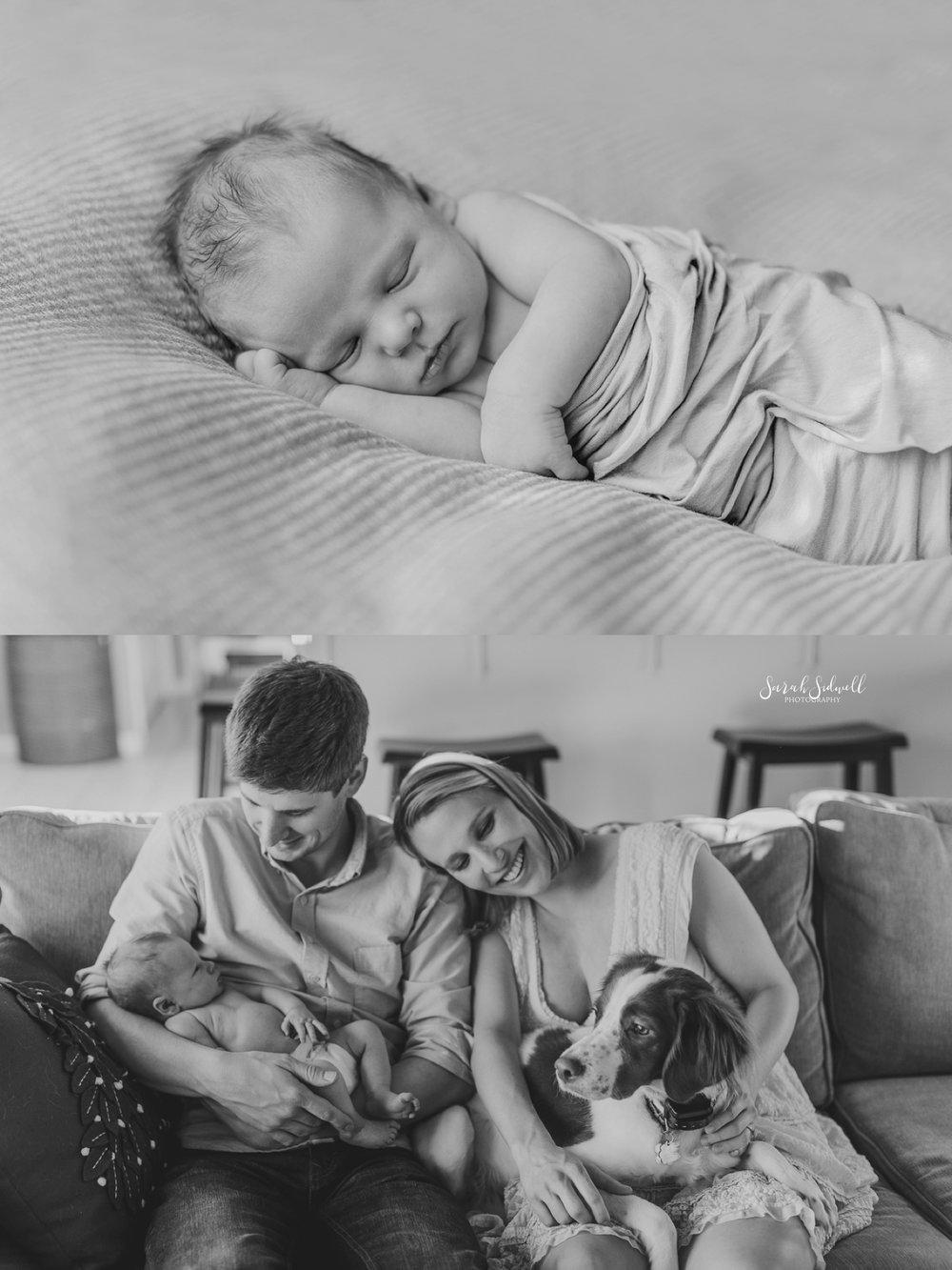 A newborn baby sleeps.