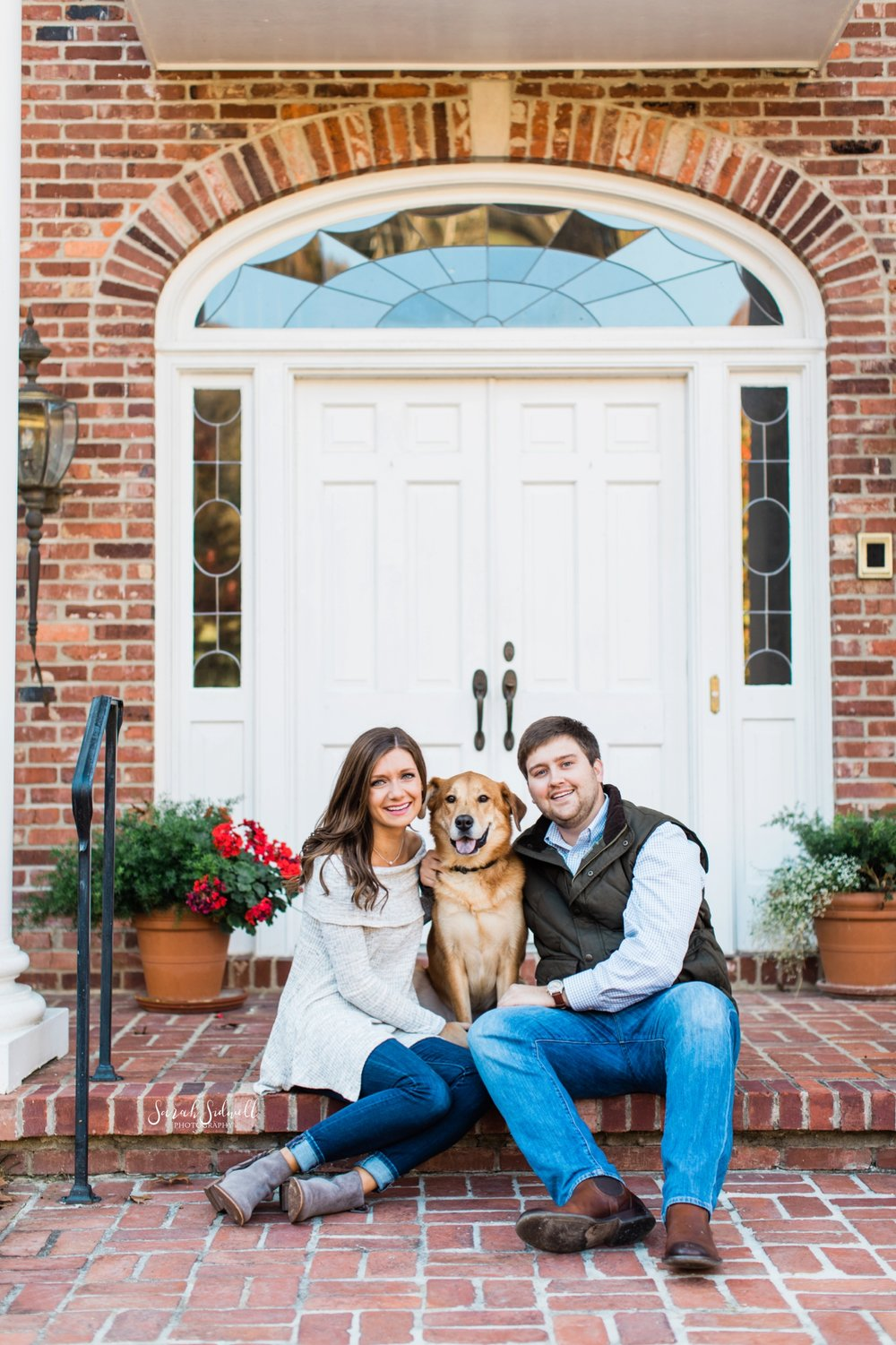 A couple pose with their dog | Engagement Photography Nashville