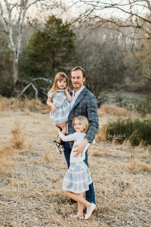 Two girls hug their dad | Nashville Family Photos