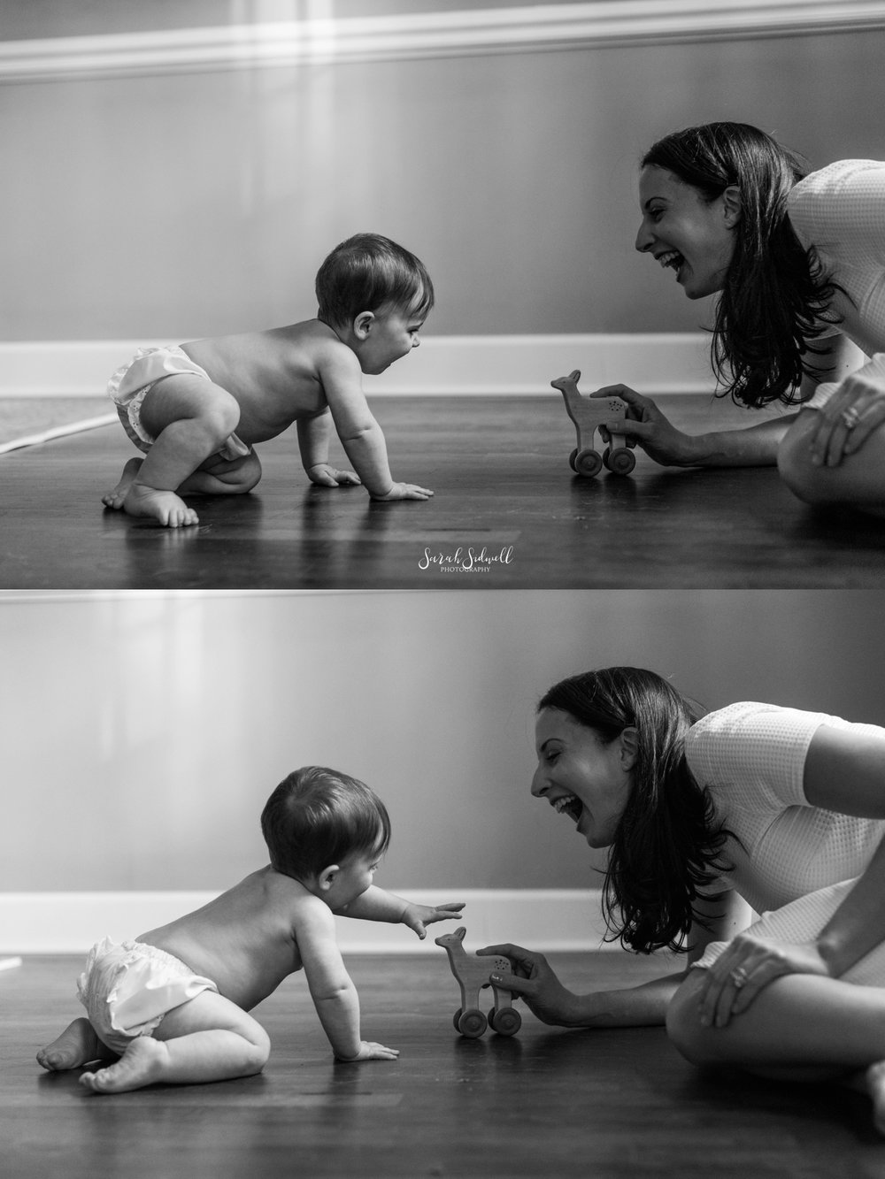 A mom plays on the floor with her baby.