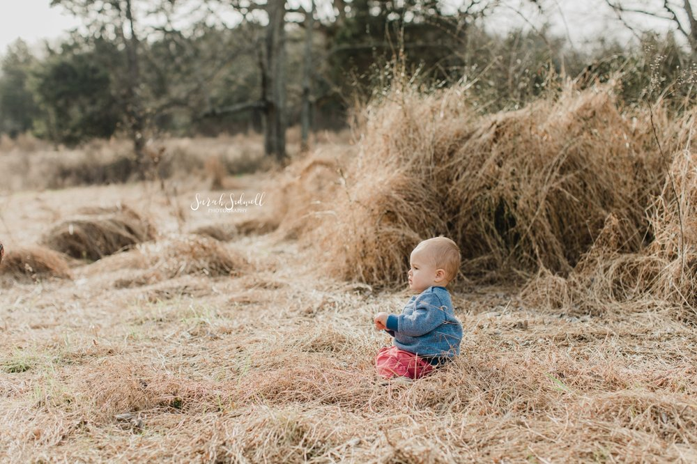 A toddler sits in a field with dead grass all around him.