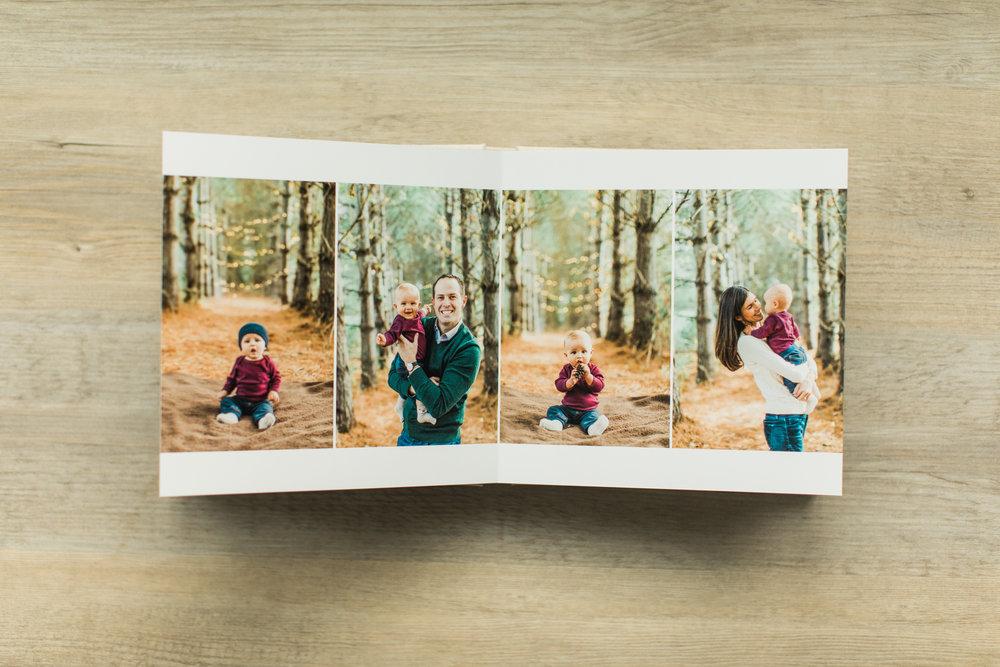 Outdoor photos are shown in a baby photo album.