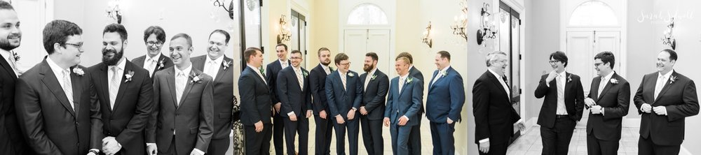 Groomsmen pose for photos.