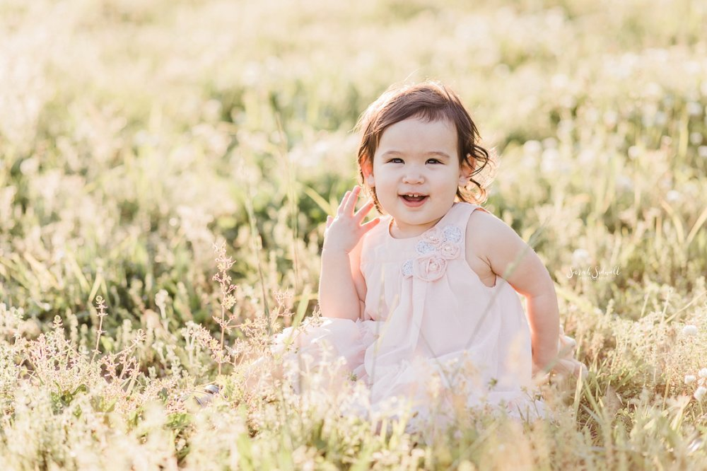 A toddler wearing a pink dress sits in a field of flowers and grass.
