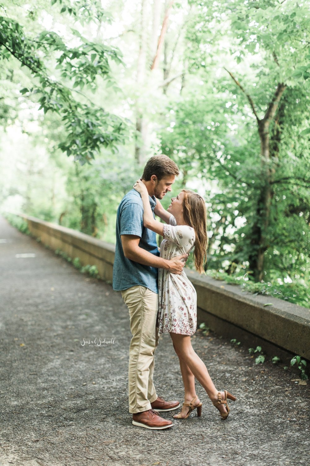 A couple hugs for their Radnor Lake engagement photographs.