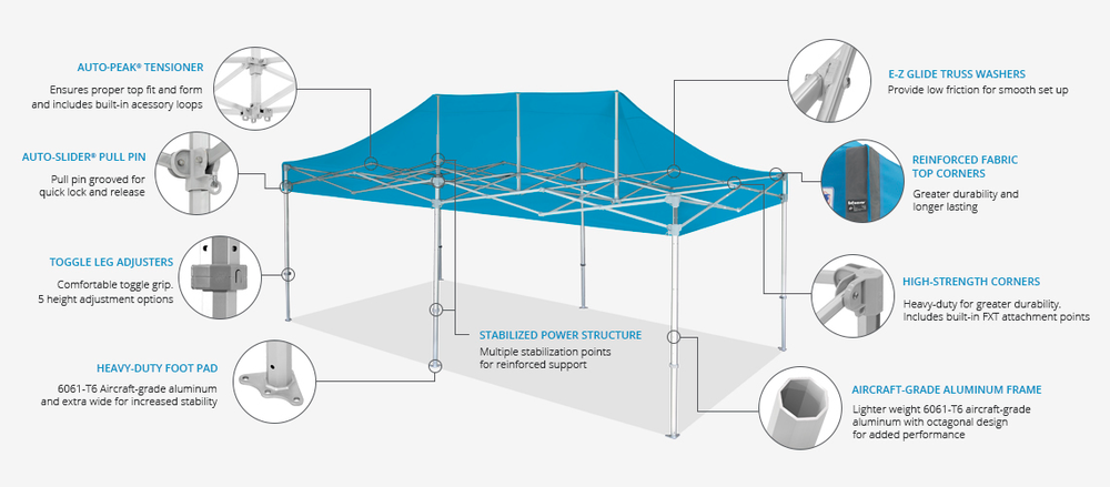 EZ UP TENTS ENDEVEAVOR - EZ UP INSTANT SHELTERS - EZ UP CUSTOM SHELTERS