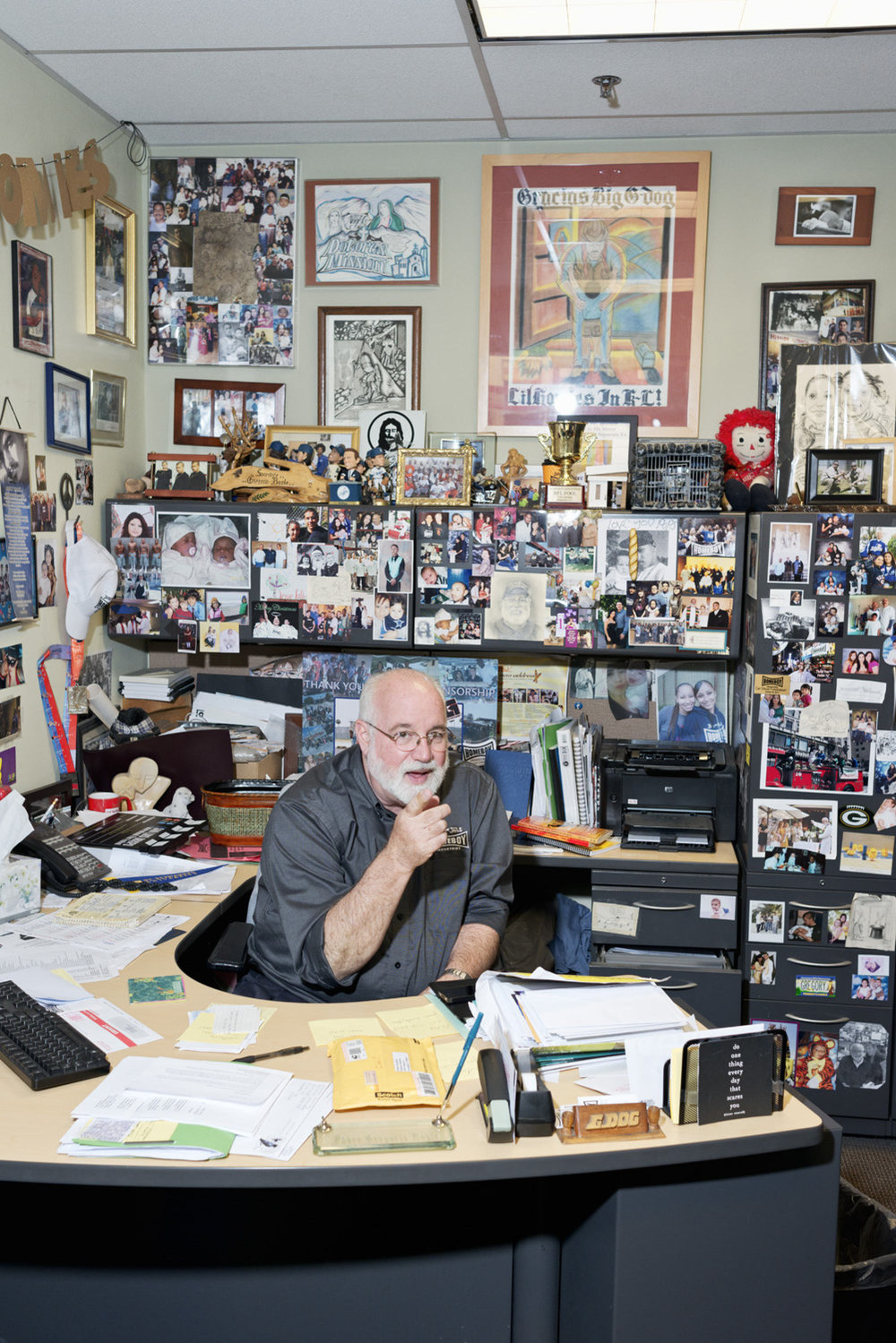 Feature onFather Greg Boyle and his Los Angeles Based non-profit, Homeboy Industries, which helps give jobs and rehabilitation to former gang members and the formerly incarcerated. H.I. has an onsite bakery, free tattoo removal service, cafe and classrooms. Photographed for Los Angeles Magazine.