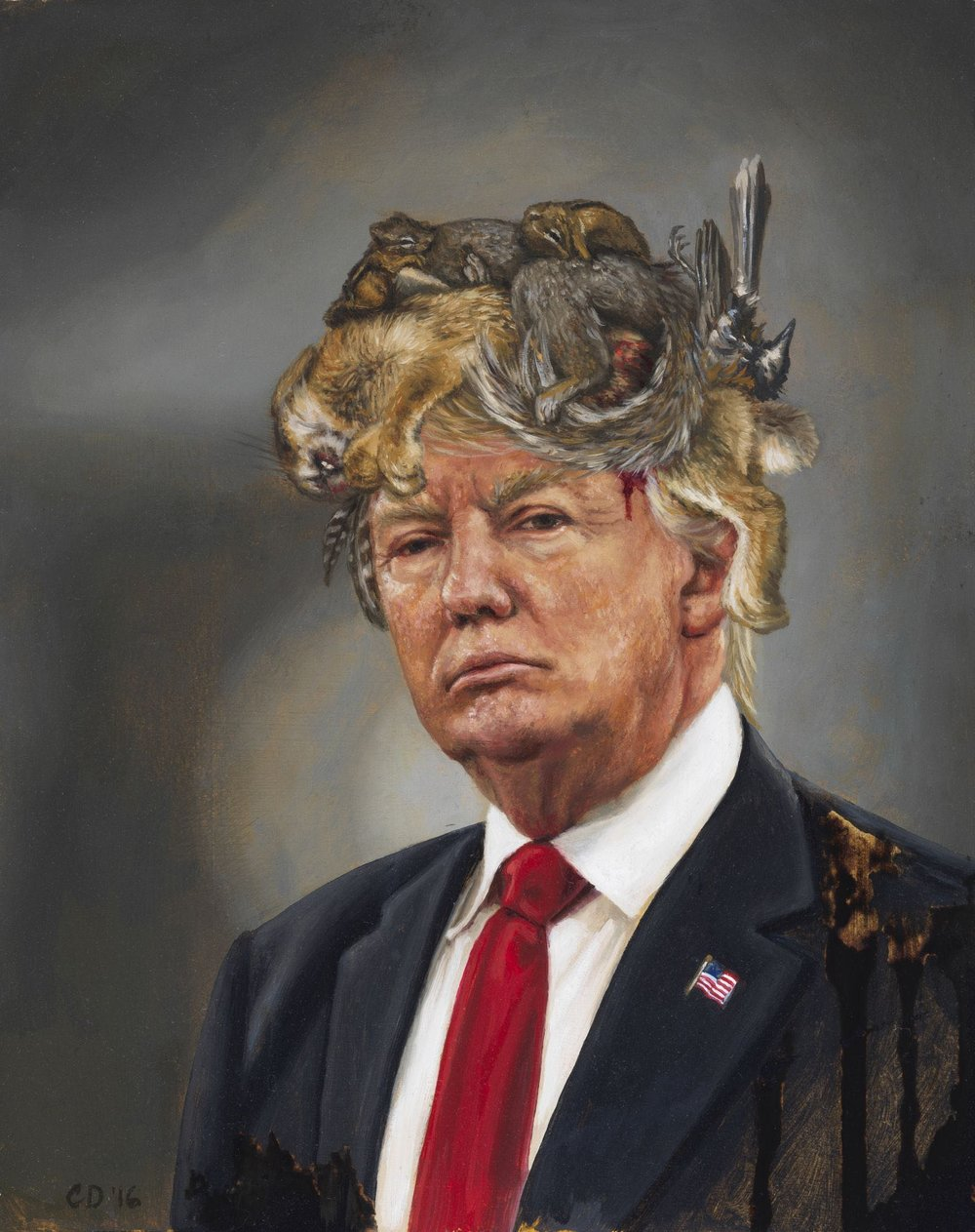 **CARA DEANGELIS- Donald Trump with a Crown of Roadkill - THE UNTITLED SPACE - UPRISE ANGRY WOMEN EXHIBIT.jpg