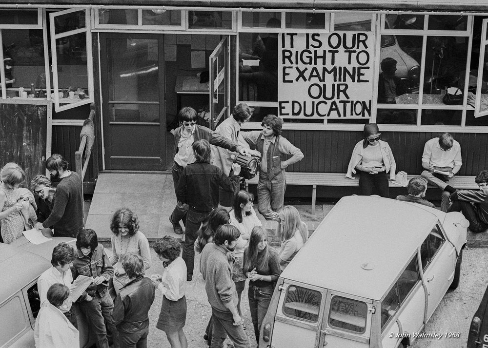 Students talk outside the canteen during the sit-in at Guildford School of Art, June 1968