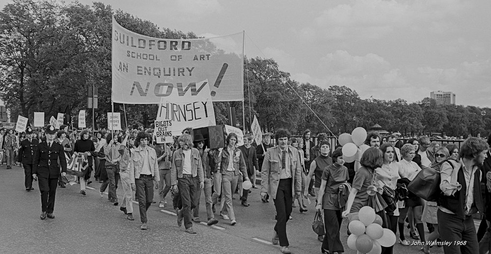After the sit-in at Guildford School of Art the previous year, students from Guildford and Hornsey Schools of Art march through London by to a rally in Hyde Park, May 1968