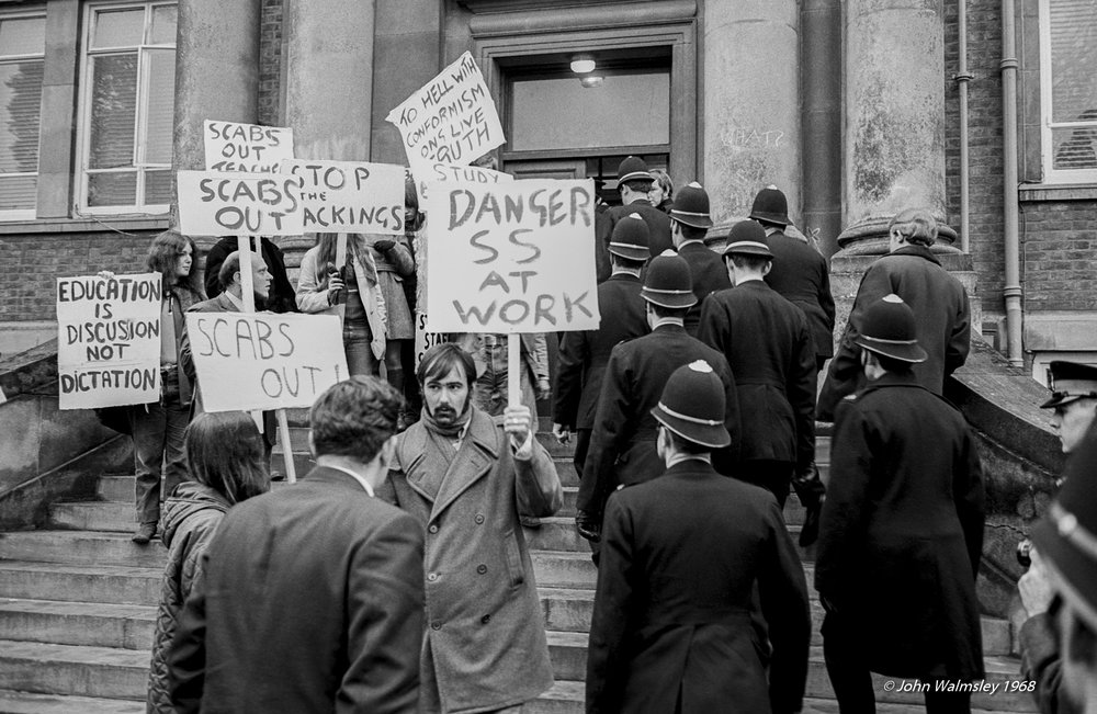 Students continued to picket and fight for the re-instatement of the sacked staff in the autumn term after the sit-in. Here, police are called in. November 1968