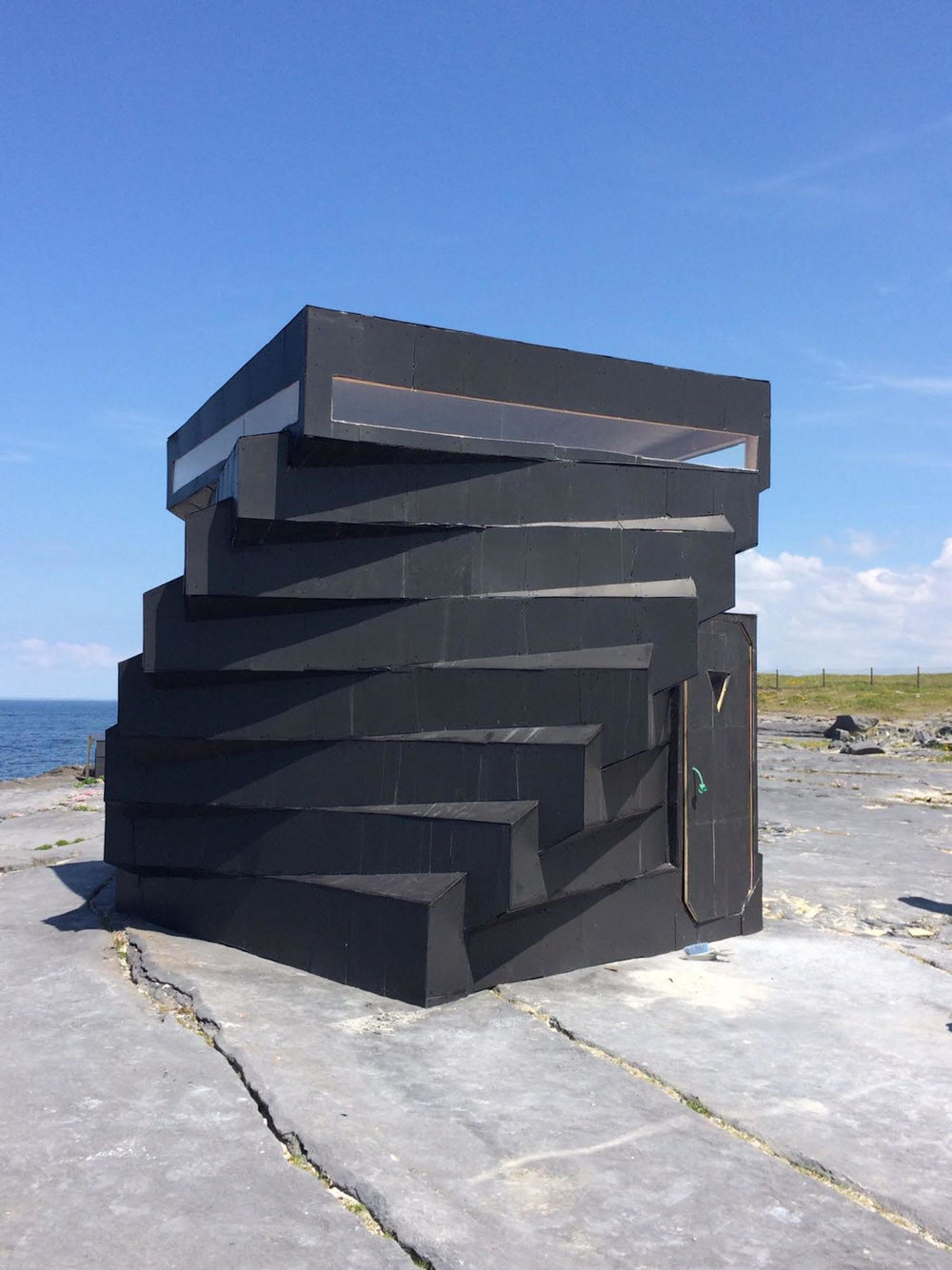 Facing the Atlantic; a temporary library houses a variety of publications. Photo: Mary Nally