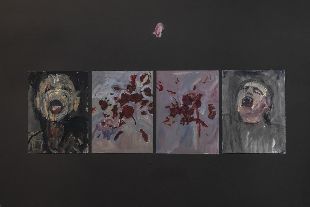 From left to right - Empathy Hole 3 (Charlie), Empathy Hole (Mouths 4), Empathy Hole (Mouths 5), Empathy Hole 2 (Lizzy), 2015-16, 42x29cm, acrylic on canvas, photos courtesy Damian Griffiths & the gallery