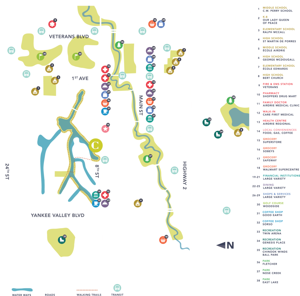 Airdrie map of amenities, including grocery stores, parks and schools, near the Canals Townhomes Community.