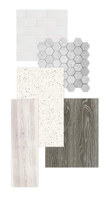 Timeless tiles, quartz countertops and wood-plank laminate are all standard finishes on Canals Townhomes