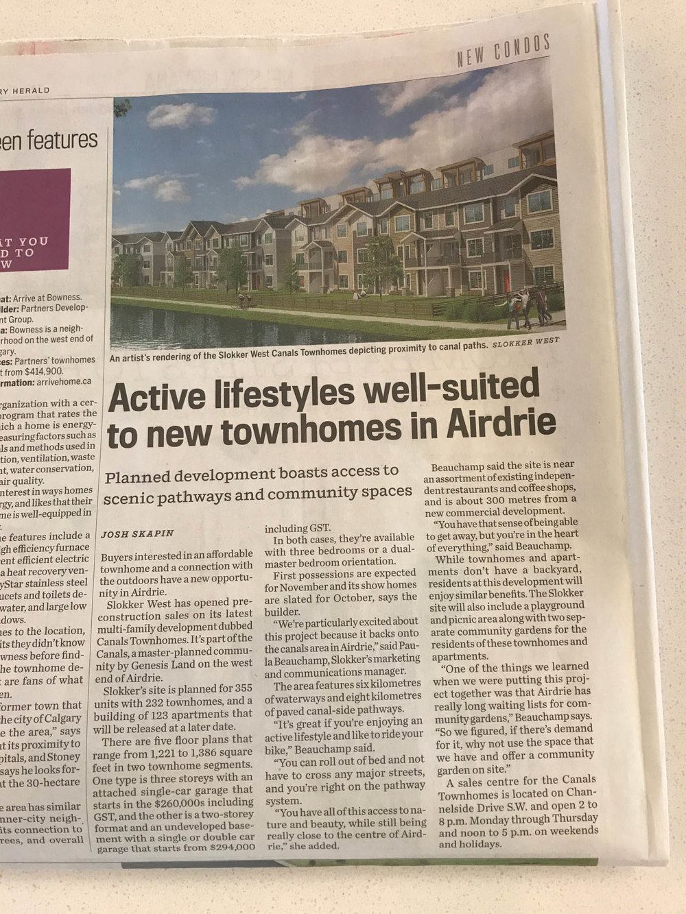 calgary herald canals townhomes article