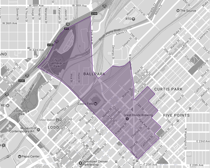 BID Boundaries - The Ballpark BID includes all commercially assessed properties in the district