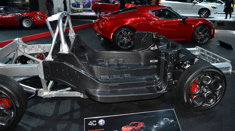 Carbon fiber tub chassis and complete car of Alfa Romeo 4C