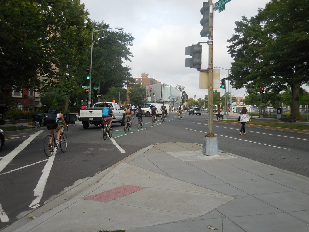 Biking down R Street